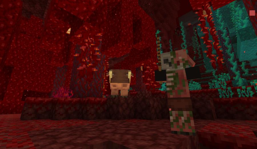Minecraft Crimson Forest and its inhabitants.