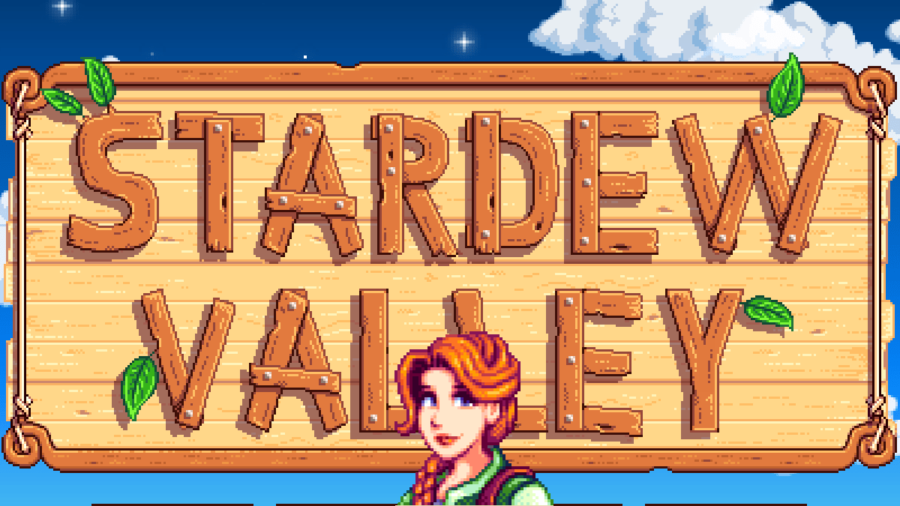 Leah in front of the Stardew Valley title screen.