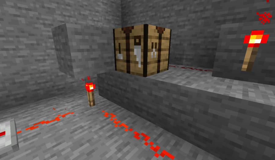 A Crafting Table ready for Redstone crafting.