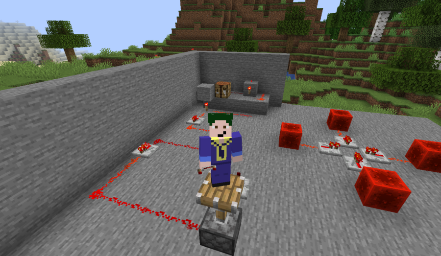 Barish on a piston powered by Redstone.