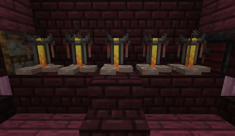 A row of Minecraft Brewing Stands.