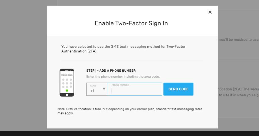 Screenshot of authentication to add a phone number.