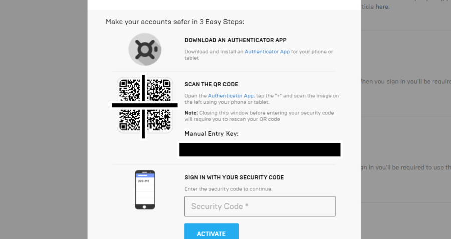 Screenshit of 3 steps for 2FA App.
