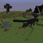 A Wither and an Ender Dragon Fighting.