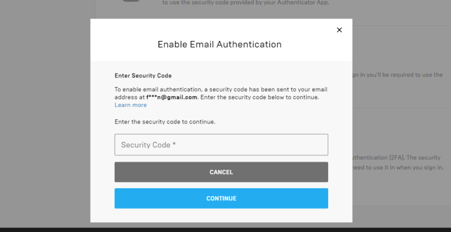 Screenshot of authentication to add an email.