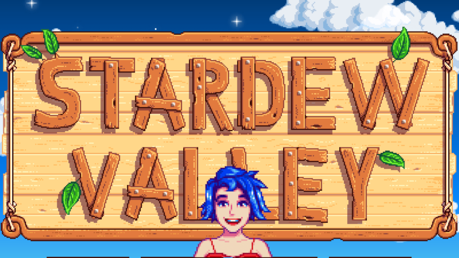 Emily in front of the Stardew Valley Loading screen.