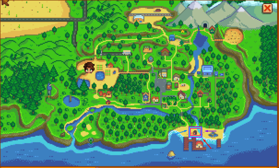Stardew Valley map highlighting Ellito's Hut.