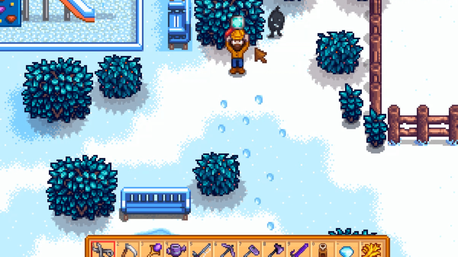 Character holding Magnifying Glass in Stardew Valley.