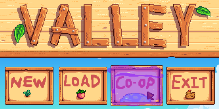 Stardew Valley loading screen highlighting co-op.