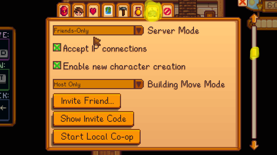 Stardew Valley in game multiplayer settings.