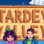 Four characters in front of Stardew Valley home screen.