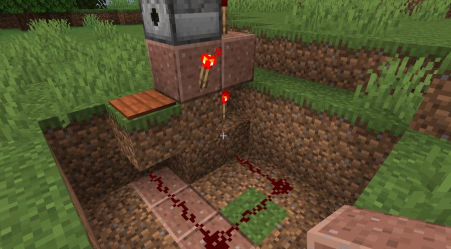 A dispenser mechanism in Minecraft.