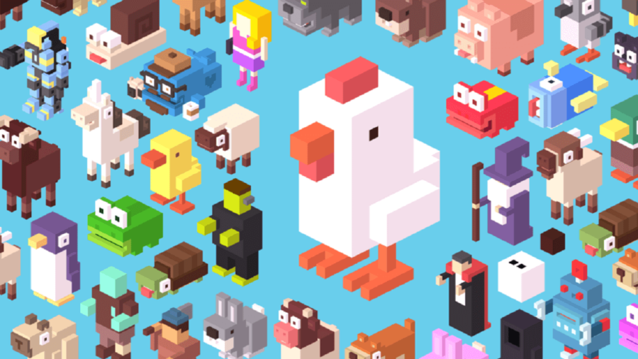 Collage of many Crossy Road characters.