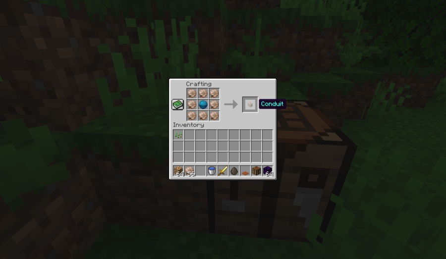The crafting recipe for the Minecraft Conduit