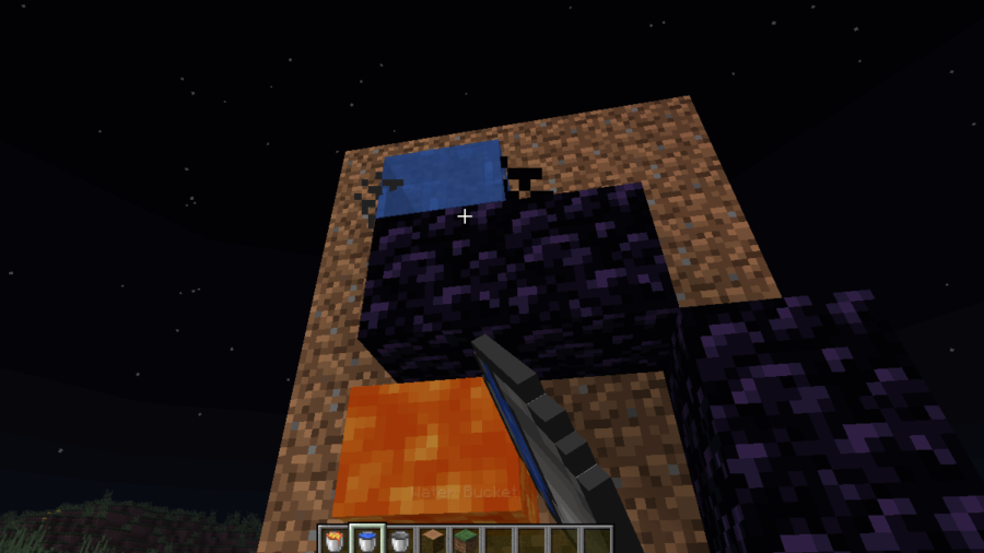 Quick placement of water over lava in Minecraft