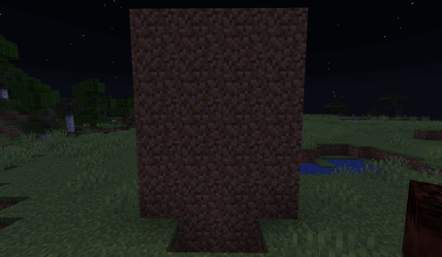 A basic dirt wall in Minecraft.