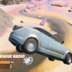 Fortnite Car with radio station on display.