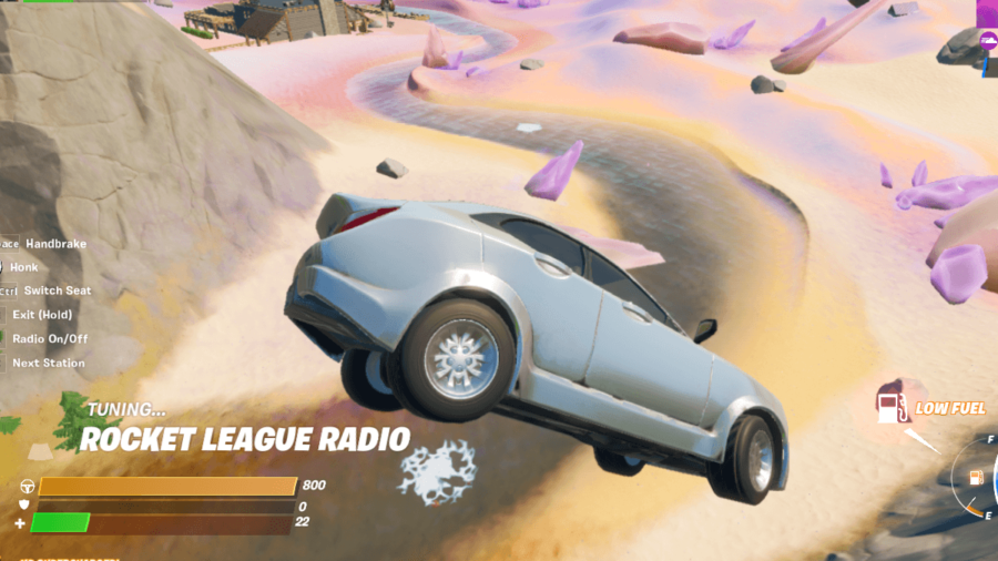 Fortnite Car with radio station on display.