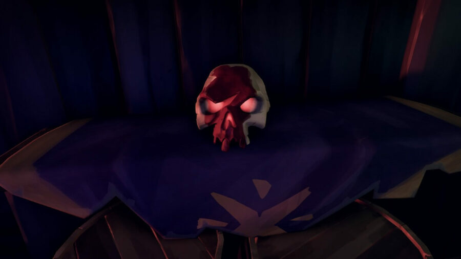 A screenshot of a Ritual Skull from Sea of Thieves.