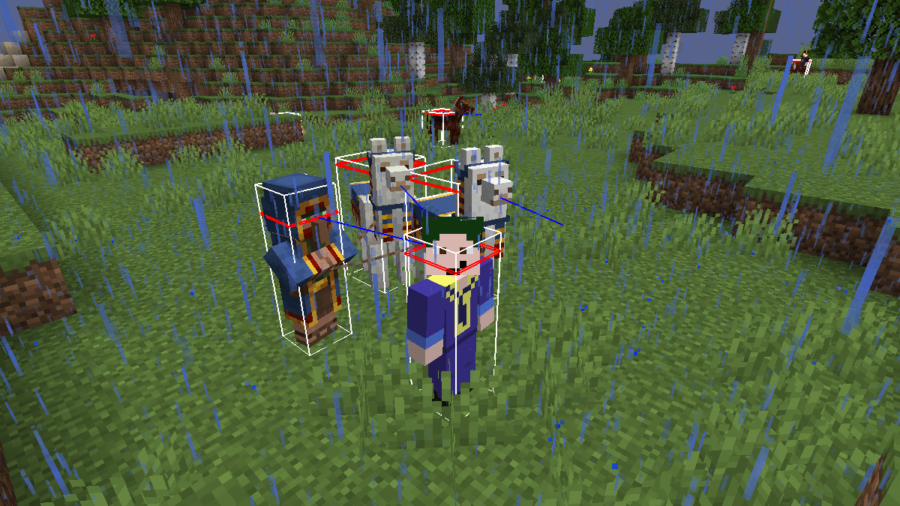 A screenshot of Minecraft highlighting the hitboxes.