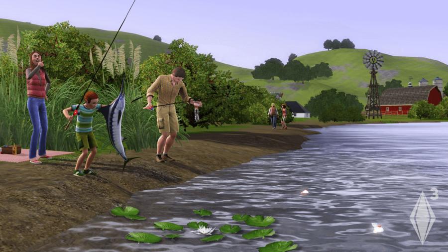 A Sims 3 Screenshot of Sims fishing.
