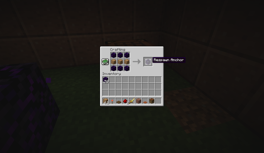 Minecraft crafting recipe for respawn anchor.