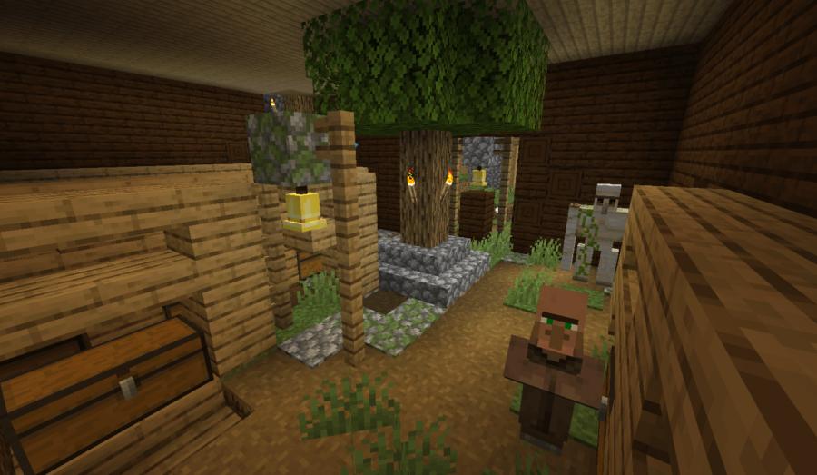 A screenshot of a village inside a mansion.