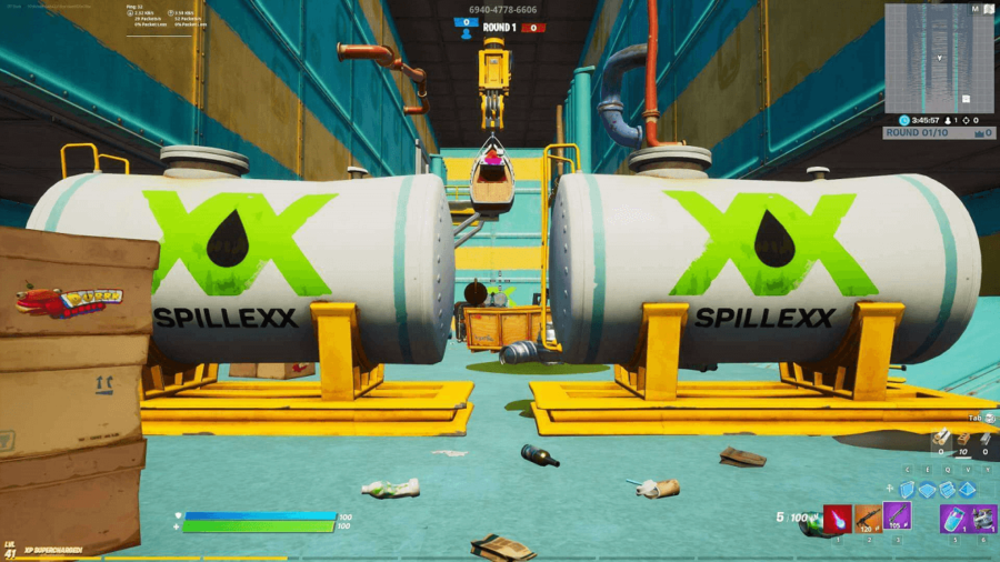 A screenshot of a first person Fortnite map.