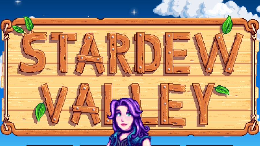 Abigail in front of the Stardew Valley loading screen.