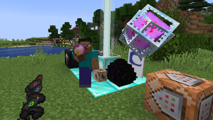 Minecraft Steve with all the rare items on display.
