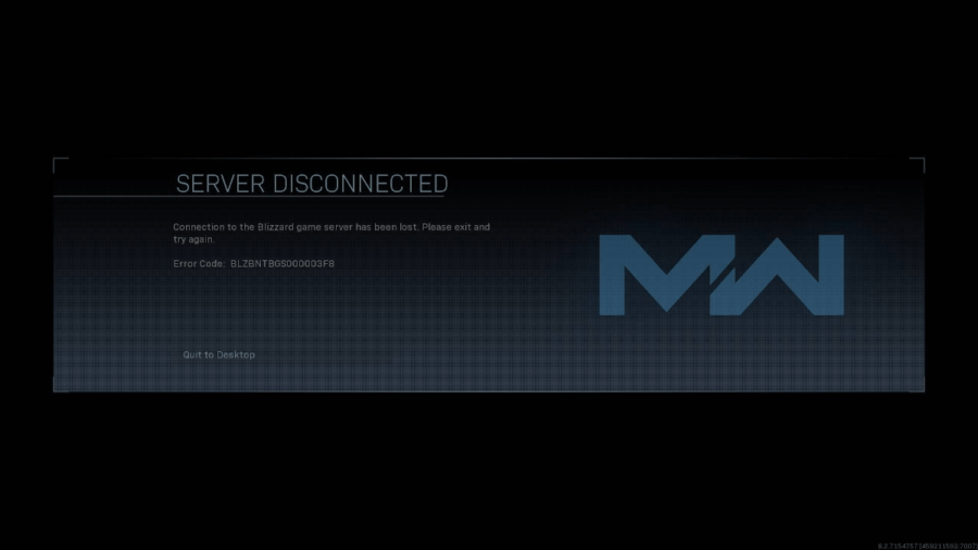 Call of Duty Modern Warfare Error Screen