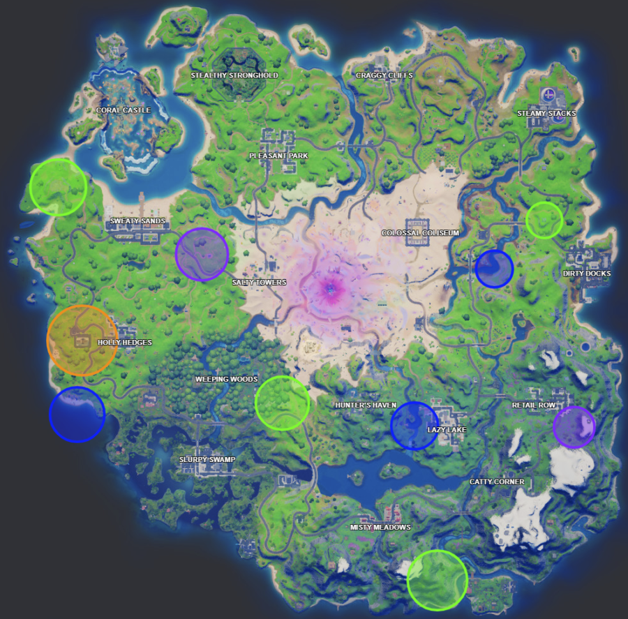 A screenshot from Fortnite showing where the Week 11 XP coins are located
