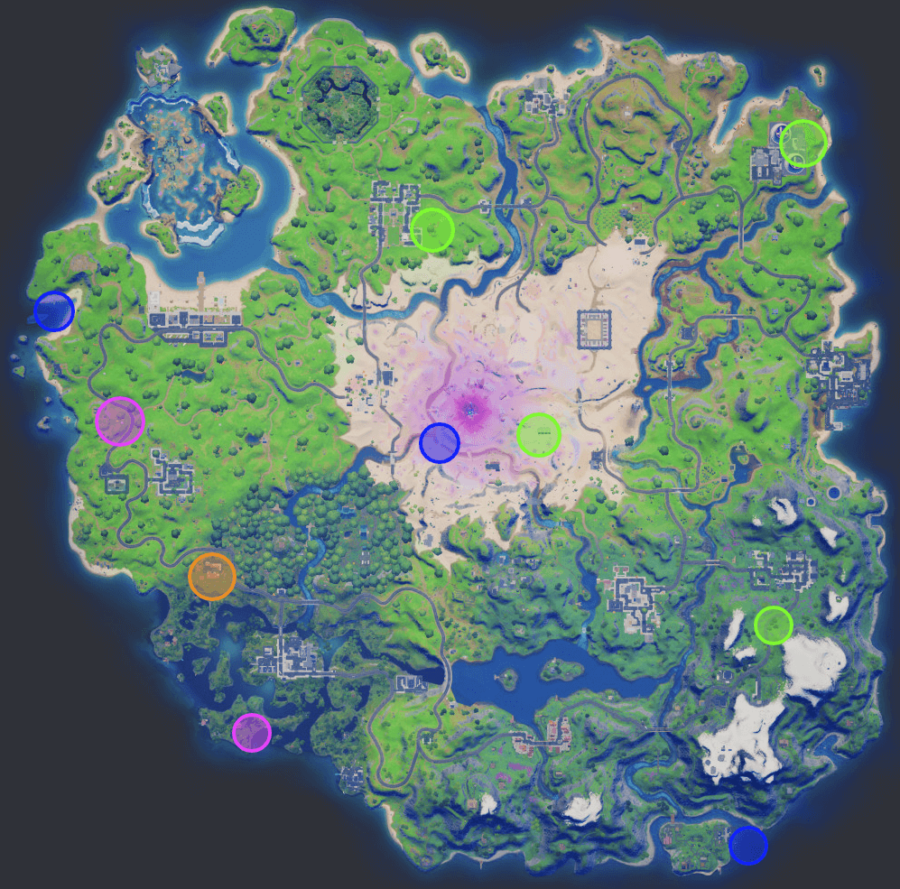 A screenshot from Fortnite showing where the Week 9 XP coins are