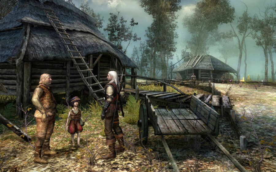 Screenshot of the Witcher: Enhanced Edition. Geralt of Rivia speaking to a mother and daughter.