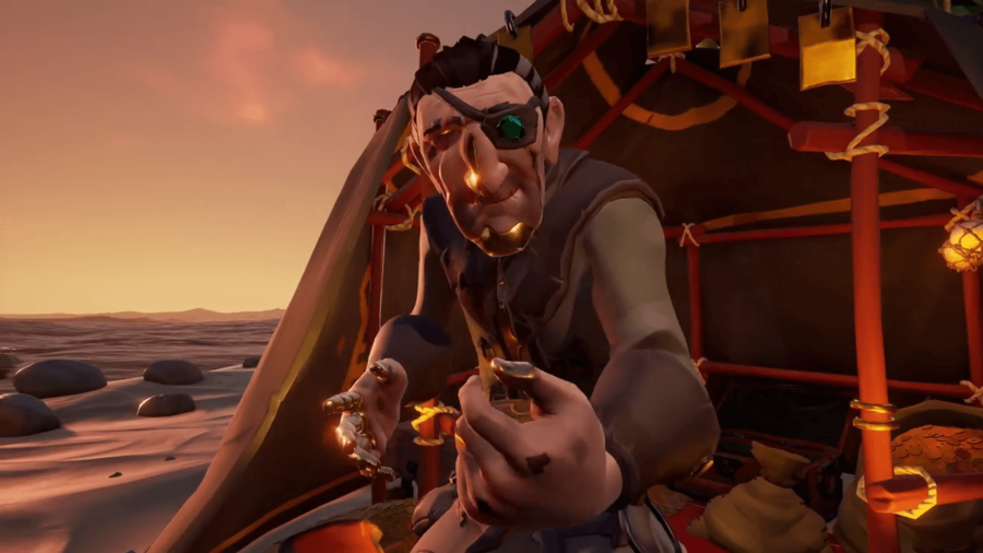 A screenshot of the Shores of Gold curse in Sea of Thieves.