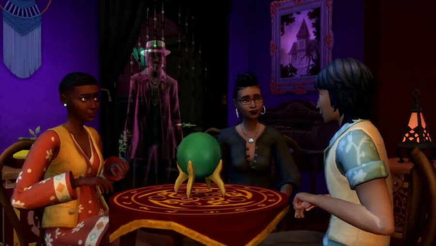 An image of a seance with Guidry in the background.