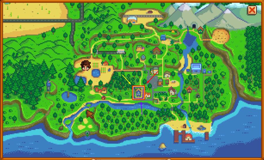Stardew Valley Map highlighting Sam's home.