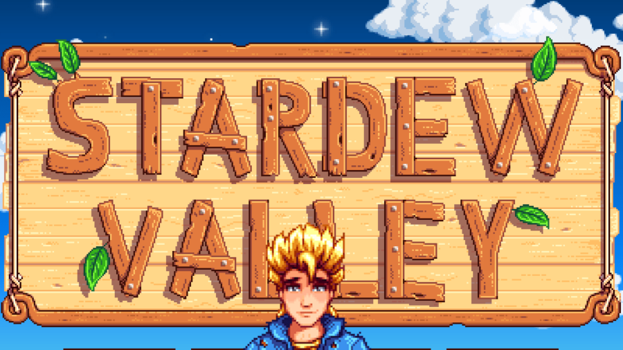 Sam in front of the Stardew Valley loading screen.