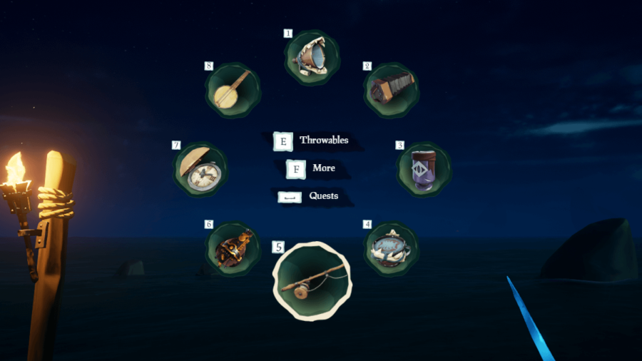 A screenshot of the radial wheel in Sea of Thieves.