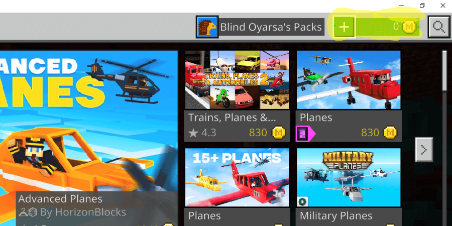A screenshot highlighting the Minecoin button on Minecraft.