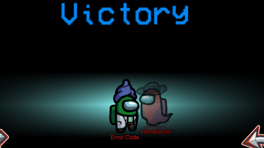 Among Us victory screen for Error Code