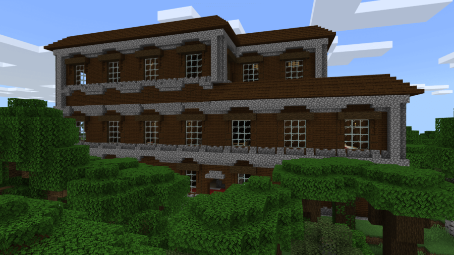 A screenshot of the front face of a mansion.