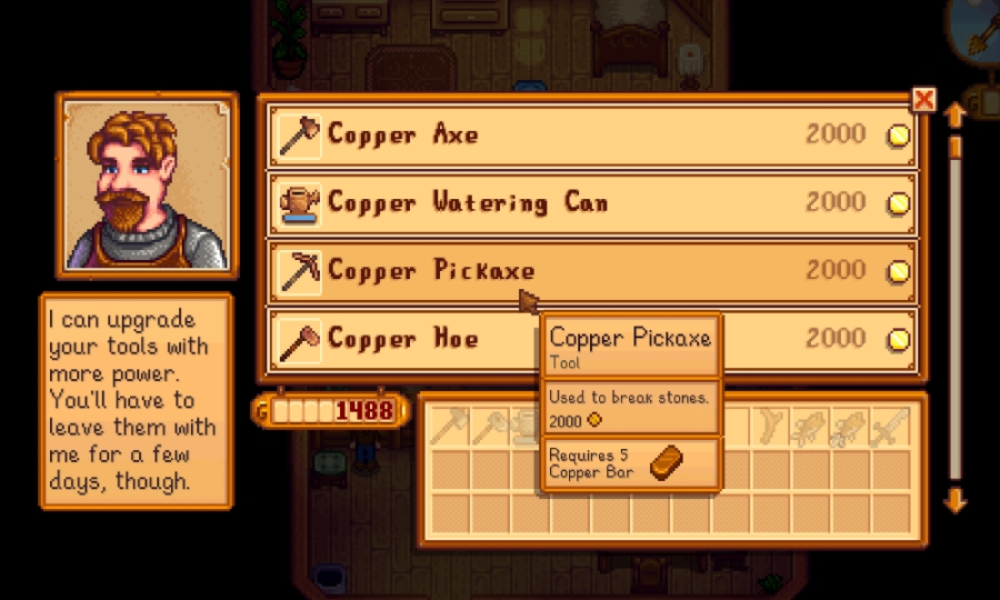 how to upgrade tools in Stardew Valley