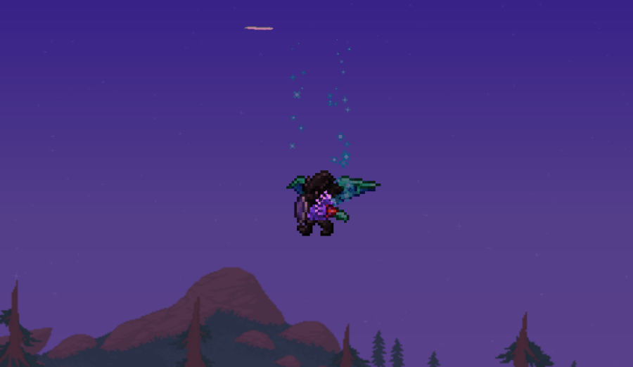 Showing off Spooky Wings in Terraria