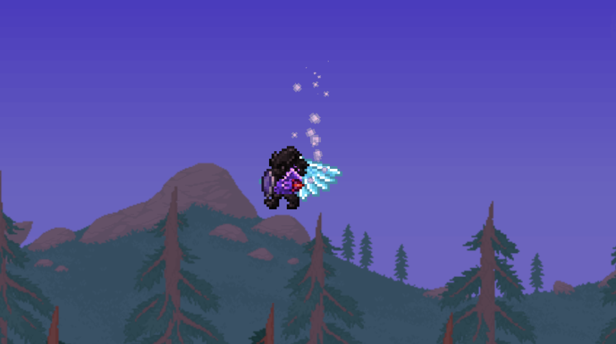 Showing off Frozen Wings in Terraria