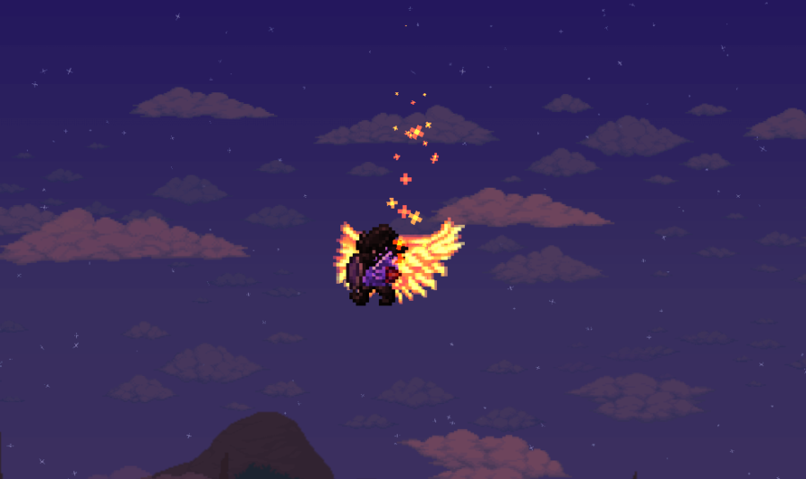 Showing off Solar Wings in Terraria
