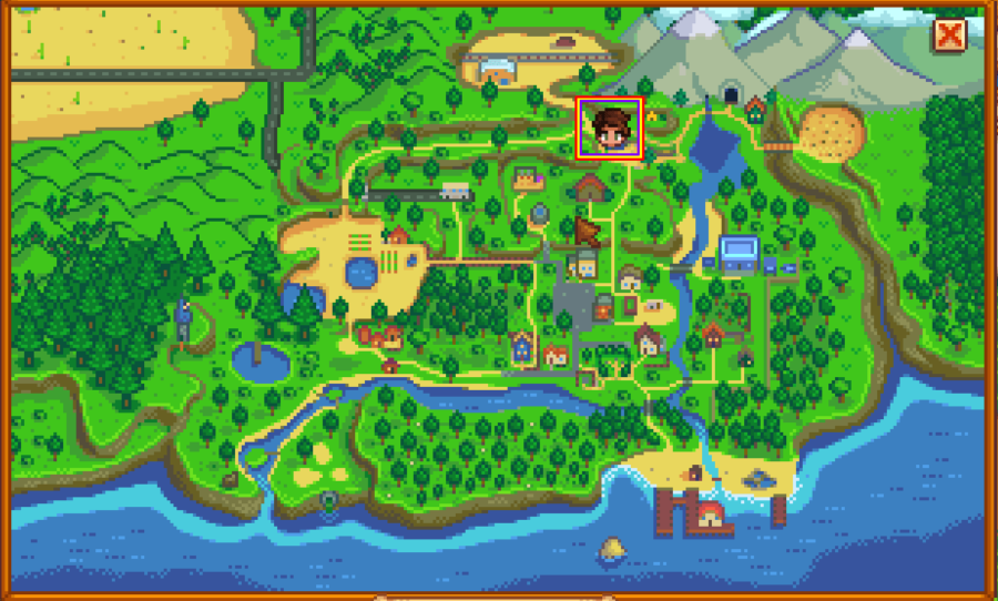 Stardew Valley Map highlighting the Carpenter Shop.
