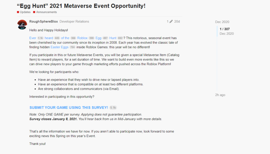 Roblox Egg Hunt 2021 Metaverse Event Opportunity