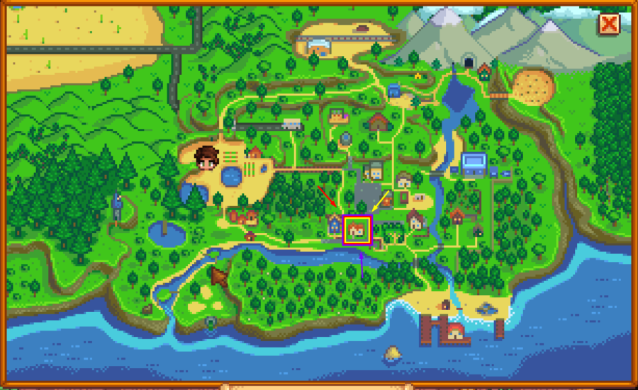 Map of Stardew Valley highlighting Emily's home.