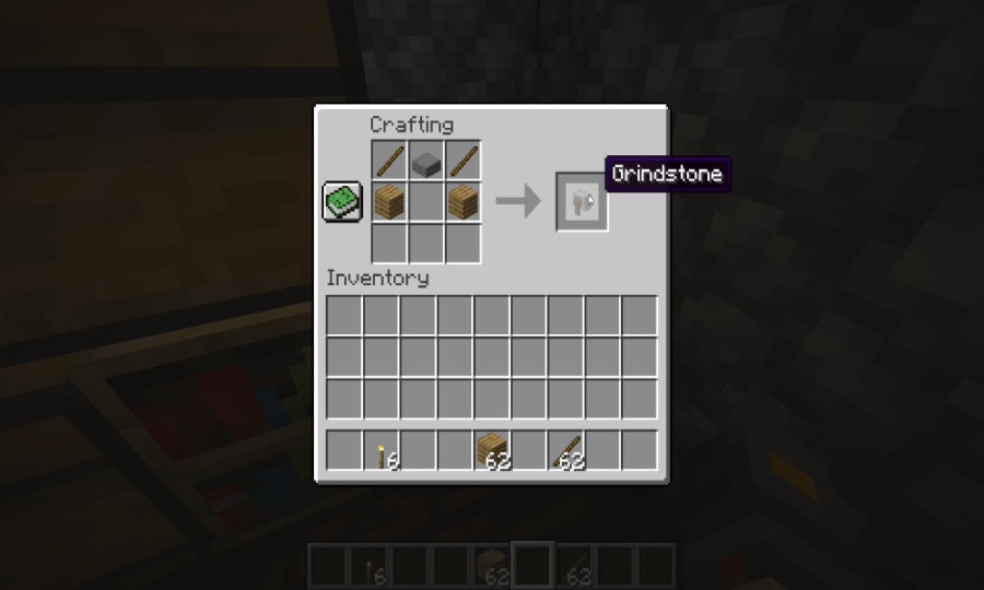m_How to make and use a Grindstone in Minecraft grind stone crafting recipe